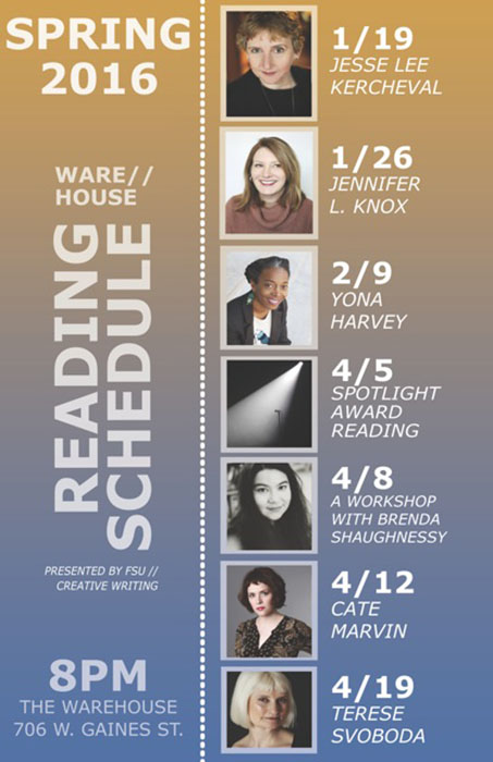 Poster for Spring 2016 Reading Series